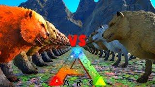 getlinkyoutube.com-Dire Trouble | ARK Survival Evolved 100 Dire Wolves VS 50 DireBears | DireWolf VS DireBear