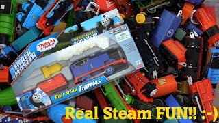 getlinkyoutube.com-Thomas & Friends Trackmaster Train Real Steam Thomas the Tank Engine Unboxing