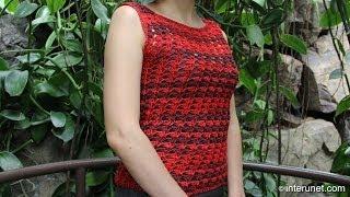 getlinkyoutube.com-Red shell tube summer blouse crochet pattern