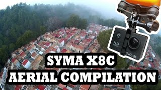 Syma X8C aerial compilation with SJ4000 and antivibration mount
