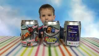getlinkyoutube.com-Жуки Феромагнитные в металлических банках распаковка игрушек Magnetic brothers crawling toy