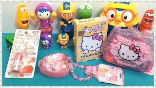 getlinkyoutube.com-Pororo Hello Kitty tayo bus kids vitamins lipstick TOY unboxing review