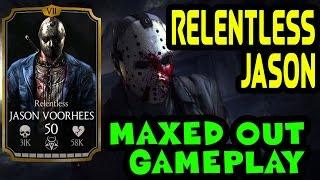getlinkyoutube.com-Relentless Jason Voorhees MAXED OUT in MKX Mobile. Stats, moves and specials gameplay.