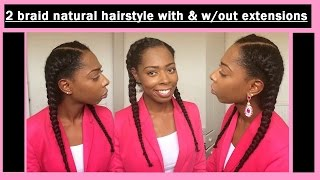 getlinkyoutube.com-★★ Two french braid natural hairstyle with & without extensions   Uk Natural Hair ★★