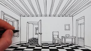 getlinkyoutube.com-How to Draw a Room in 1-Point Perspective: Narrated Drawing