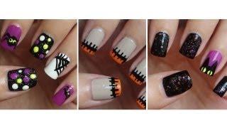getlinkyoutube.com-Halloween Nails 🎃 Three Easy Designs!!!