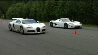 getlinkyoutube.com-Bugatti Veyron vs Koenigsegg CCXF (60-310+ km/h)