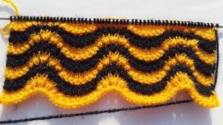 getlinkyoutube.com-Double colour design for sweater / cardigan | HINDI | EASY KNITTING