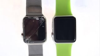 getlinkyoutube.com-Sapphire Crystal vs Ion-X Apple Watch: Slow Mo Drop Test