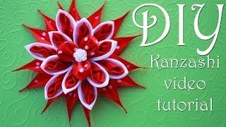 getlinkyoutube.com-Красный Цветок Канзаши в Горошек / DIY Kanzashi /  Christmas flowers