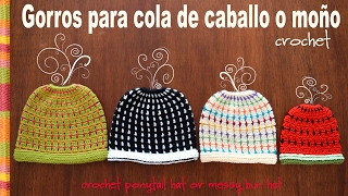 getlinkyoutube.com-Gorro para cola de caballo o moño tejido a crochet en 4 tallas! Crochet ponytail or messy bun hat!