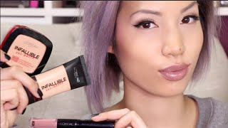 getlinkyoutube.com-NEW LOREAL 24 HOUR PRODUCTS |  Pro Matte Foundation + Powder & Lipstick Review