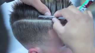 getlinkyoutube.com-comb over skin fade haircut with part | fade with combover | EZ BLADE SHAVING GEL