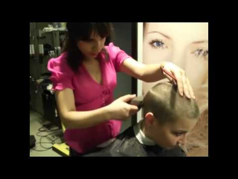 Video lady with Long hair  to Shaved Haircut bald cancer