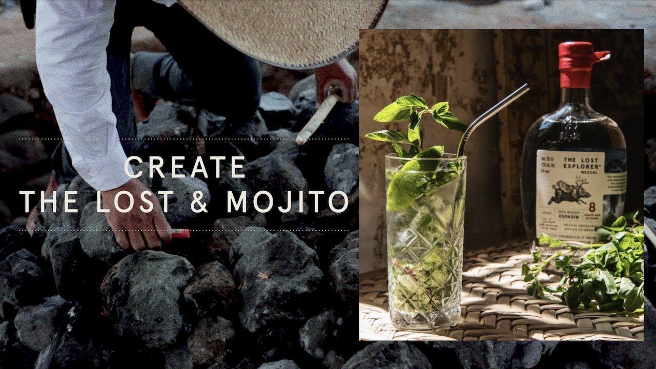 Mojito Cocktail with Mezcal with Mint Leaves