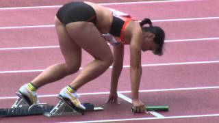 getlinkyoutube.com-Athletics W'4x100mR Final (福島千里参加レース) 陸上2011-1029