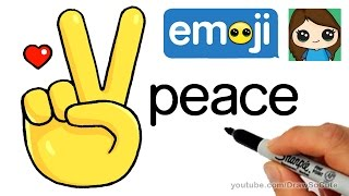getlinkyoutube.com-How to Draw Peace Sign Hand Emoji