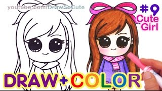 getlinkyoutube.com-How to Draw + Color Chibi Girl #9 Step by step w/Crayola Markers, pencils