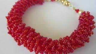 getlinkyoutube.com-Beaded Fur Bracelet   DIY.  Бисерный мех