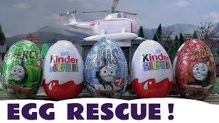 getlinkyoutube.com-Surprise Eggs Kinder Surprise Eggs Thomas And Friends Toys Emergency Egg Rescue Flynn Belle Harold