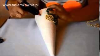 getlinkyoutube.com-Instrukcja wykonania choinki ze stożka styropianowego, sznurka i perełek