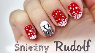 getlinkyoutube.com-♦ Wzorki na paznokcie - renifer w śniegu na zimę i święta ♦