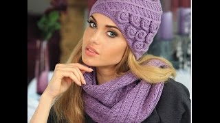 getlinkyoutube.com-Женские вязанные шапки - фото 2017 / Women's knitted hats / Frauen-Strickmütze - Foto
