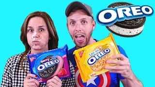 getlinkyoutube.com-THE OREO CHALLENGE! GIANT WHIP CREAM COOKIES (Blindfold Taste Testing) Games by DCTC