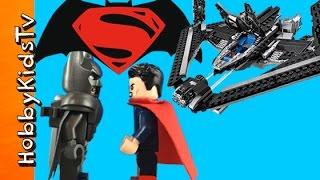 getlinkyoutube.com-BATMAN vs SUPERMAN Sky High Battle Lego Build! Superhero Challenge HobbyKidsTV