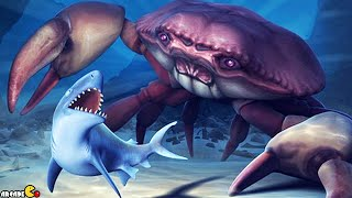 getlinkyoutube.com-Hungry Shark Evolution: NEW Baby King Shark Team Up Mr. Snappy Mosasaurus Vs GIANT CRAB!