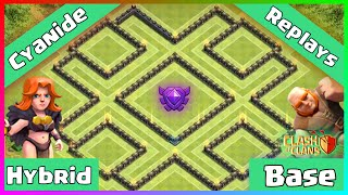 getlinkyoutube.com-Clash Of Clans: TH9 Hybrid Protect Town Hall/Storages (Crystal League Base) - Cyanide + Replays