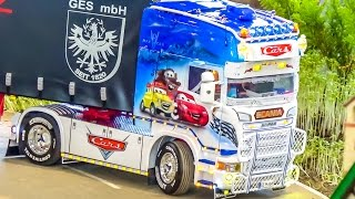 getlinkyoutube.com-RC truck SPECIAL Epic SCANIA trucks in action! Disney Cars & much more!