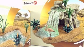getlinkyoutube.com-Schleich Waterfall and River with Flamingo toys - Joins to Schleich Watering Hole