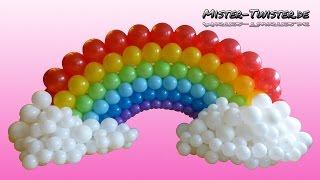 getlinkyoutube.com-Balloon Rainbow, Decoration, Birthday, Ballon Regenbogen, Dekoration, Geburtstag