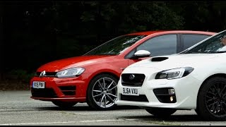 Golf R vs Subaru WRX STI   Drag Race   PistonHeadsTV
