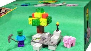 getlinkyoutube.com-LELE 마인크래프트 광산과 사과 나무 좀비 세트 박스 레고 짝퉁 Lego knockoff minecraft tree stone zombie set