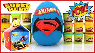 getlinkyoutube.com-BATMAN vs SUPERMAN Hot Wheels Superheroes Play-Doh Surprise Egg 2016 McDonalds Happy Meal Kids Toys