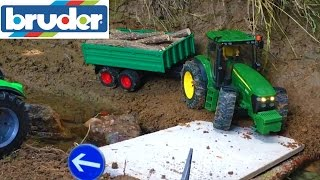 BRUDER RC toys Jeep and Tractor CRASH!