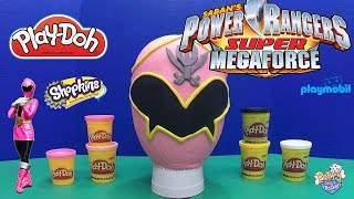 getlinkyoutube.com-Power Rangers Super MegaForce Pink Ranger Giant Play-Doh Egg