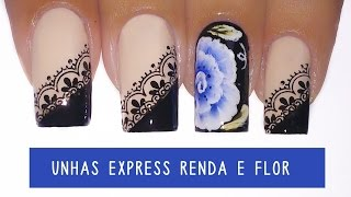 getlinkyoutube.com-Unhas Express #13 Renda + Flor