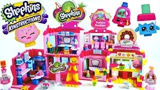 getlinkyoutube.com-Mega Shopkins Kinstructions Unboxing Shopville Town Center, Bakery, Checkout Lane + Fashion Boutique