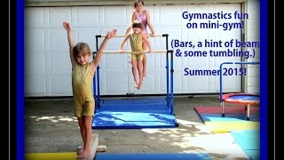 getlinkyoutube.com-3 Sister Gymnastics In At Home Mini Gym - Bar Fun & More
