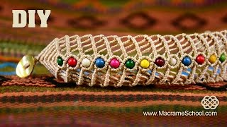 getlinkyoutube.com-DIY Macramé Fishbone Bracelet with Beads |  Macrame School