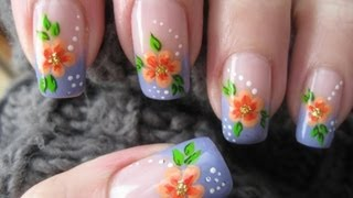 getlinkyoutube.com-Nail art: French manicure with flower