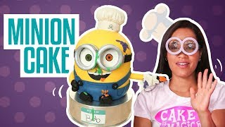 getlinkyoutube.com-How To Make a BOB THE MINION...CAKE! Chocolate cakes, ganache, buttercream and fondant!!