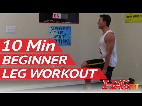 10 Min Beginner Leg Workout - HASfit Easy Leg Workouts - Beginner Strength Training - Easy Exercises