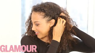 getlinkyoutube.com-Curly Hairstyle How-To: The Braided Updo—Hey Hair Genius - Glamour