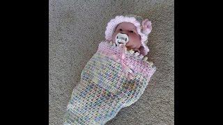 getlinkyoutube.com-Crochet easy baby cocoon DIY tutorial