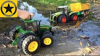 getlinkyoutube.com-BRUDER Toy TRACTOR John Deere COWGIRL MUD RESCUE!