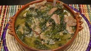 getlinkyoutube.com-Ethiopian Food - Lamb & Spinach recipe Gomen be Sega - Injera Berbere Tibs Wot Kitfo